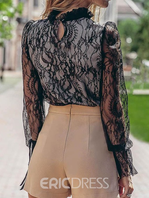 Ericdress Lace Plain See-Through Sexy Blouse