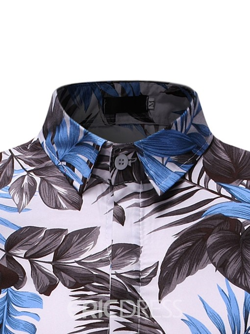 Ericdress Casual Lapel Color Block Mens Single-Breasted Shirt