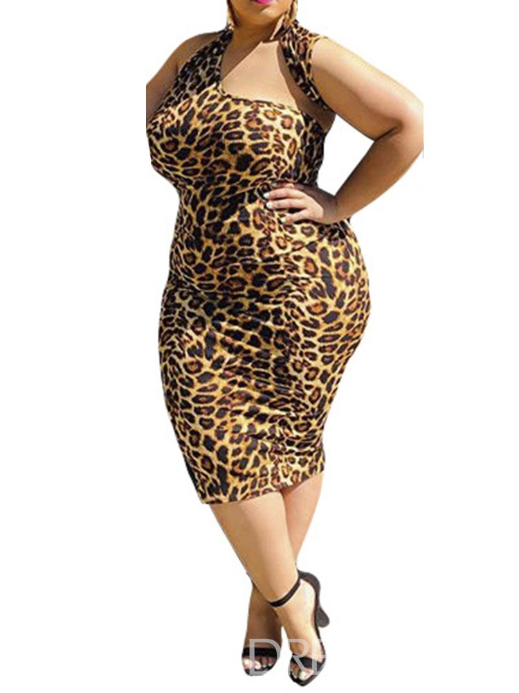 Ericdress Plus Size Leopard Sleeveless Mid-Calf Pencil Dress