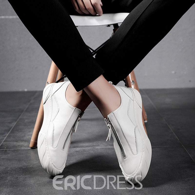 Ericdress Plain Zipper Round Toe Men's Dress Shoes