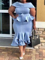 Ericdress Plus Size Ruffles Mid-Calf Patchwork Plain Mermaid Dress thumbnail