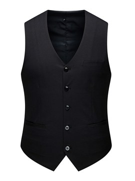 Ericdress Pocket V-Neck Plain Single-Breasted Mens Waistcoat