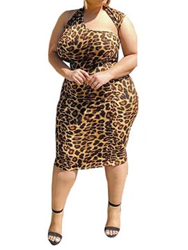 Ericdress Plus Size Leopard Sheath Sleeveless Oblique Collar Dress