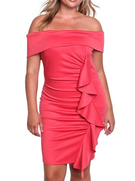ericdress off schulter über dem knie kurzarm party / cocktail mitte taille kleid