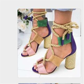 Ericdress Lace-Up Open Toe Chunky Heel Women's Sandals