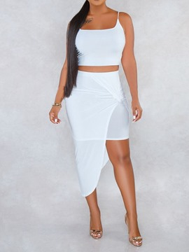 Ericdress Asymmetrical Strap Plain Skinny Vest And Skirt Two Piece Sets