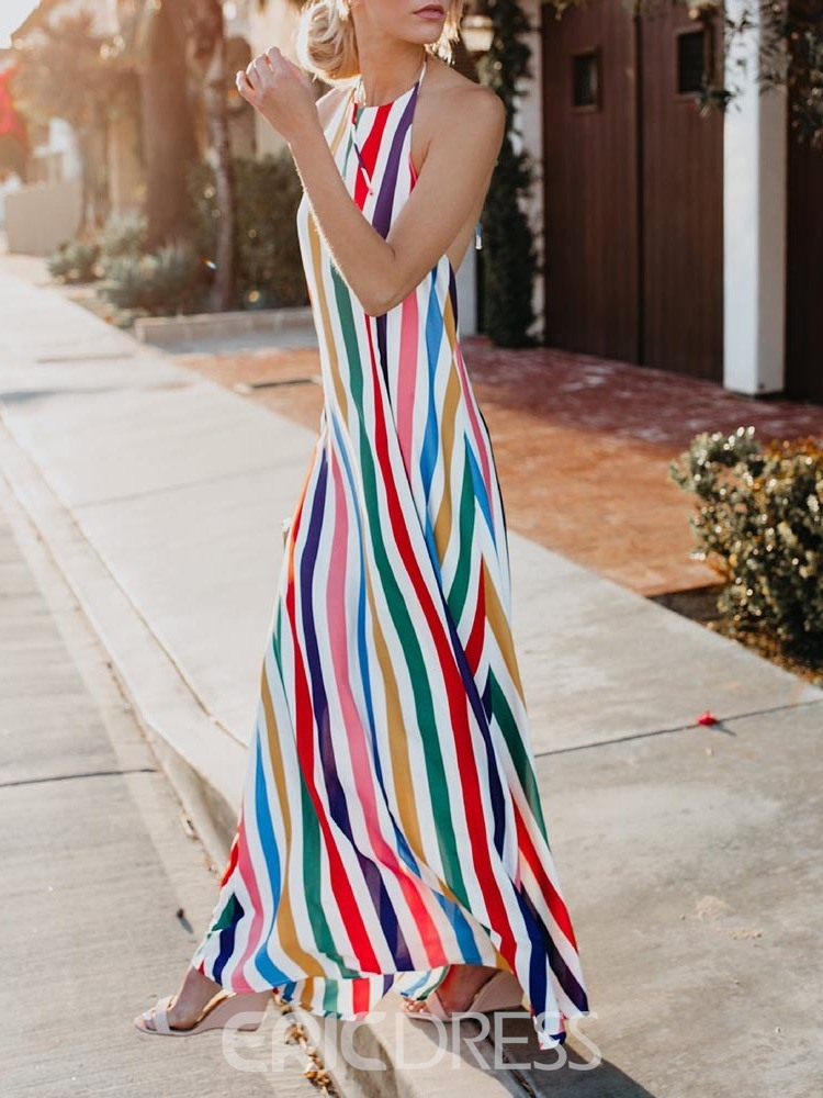 Ericdress Expansion Striped Ankle-Length Backless Sleeveless Halter Maxi Dress