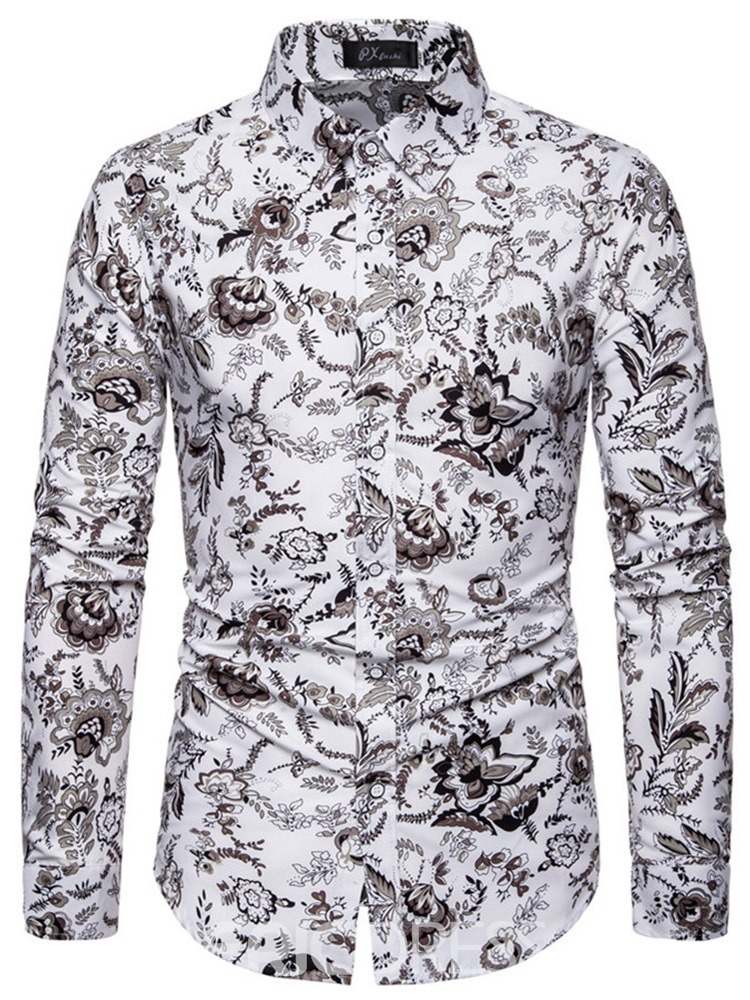 Ericdress Print Lapel Casual Slim Mens Shirt