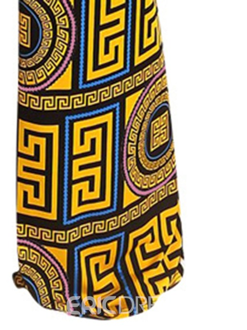 Ericdress African Fashion Print Color Block Slim Jumpsuit