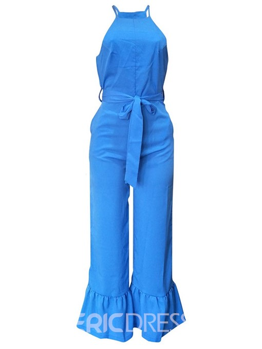 Ericdress Plain Belt Zipper Slim Jumpsuit