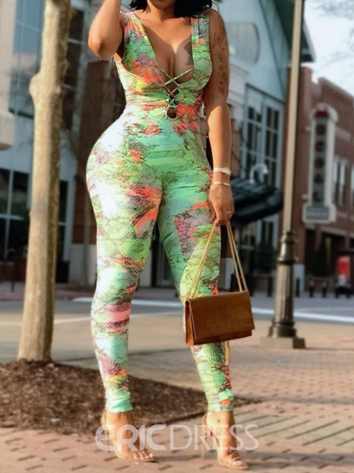 Ericdress Sexy Color Block Slim Pencil Pants Jumpsuit