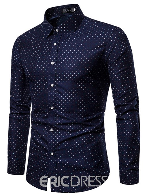 Ericdress Lapel Color Block Button Mens Single-Breasted Shirt