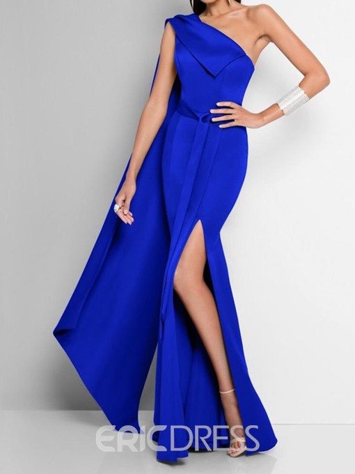 Ericdress Split Oblique Collar Floor-Length One-Shoulder Fashion Maxi Dress