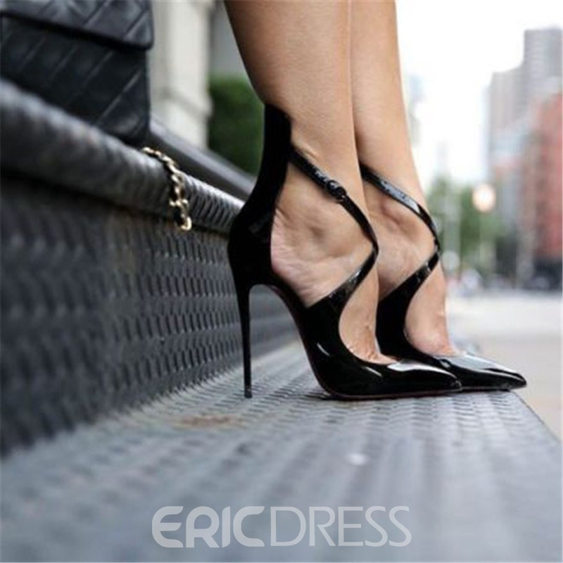 Ericdress PU Pointed Toe Stiletto Heel Buckle Women's Pumps