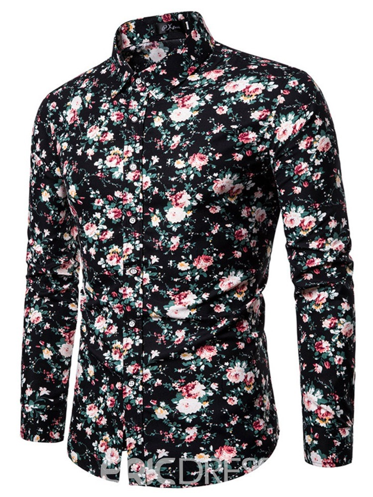 Ericdress Floral Lapel Casual Slim Mens Shirt