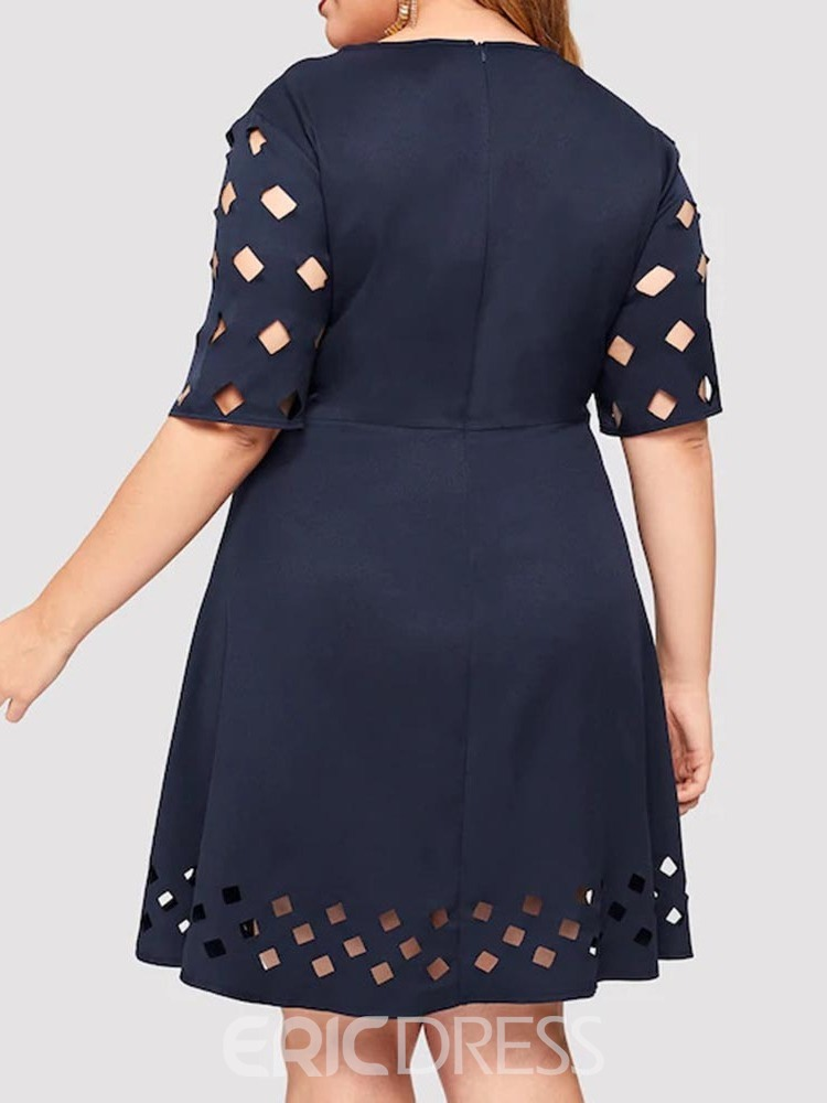 Ericdress Plus Size V-Neck Hollow Above Knee Half Sleeve A-Line Dress