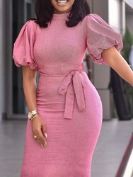 Ericdress Lantern Sleeve Bodycon Office Lady Pink Dress фото