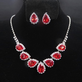 Water Drop Necklace E-Plating Jewelry Sets (Wedding)