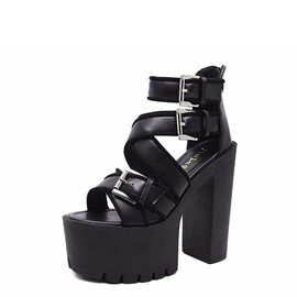 Ericdress PU Buckle Chunky Heel Heel Covering Women's Sandals