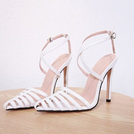 Ericdress PU Stiletto Heel Pointed Toe Buckle Hollow Women's Sandals