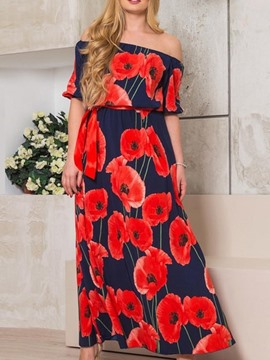 Ericdress Plus Size Off Shoulder Print Floral Ankle-Length Dress