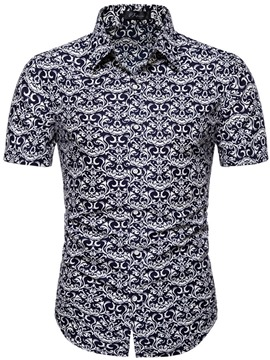 Ericdress Print Casual Single-Breasted Mens Summer Shirt