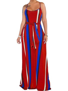 Ericdress Striped Sleeveless Floor-Length Summer Fashion Dress