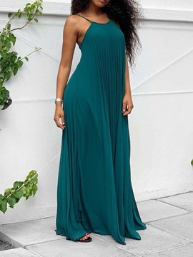 Ericdress Backless Sleeveless Floor-Length Plain Pullover Dress