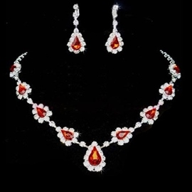 Water Drop Korean Diamante Jewelry Sets (Wedding)