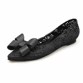 Ericdress PVC Bow Pointed Toe Slip-On Women's Jelly Shoes