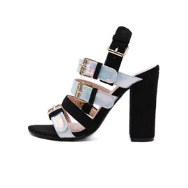 Ericdress Faux Suede Color Block Open Toe Chunky Heel Buckle Women's Sandals