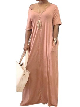 Ericdress Pocket V-Neck Floor-Length Plain Casual Dress