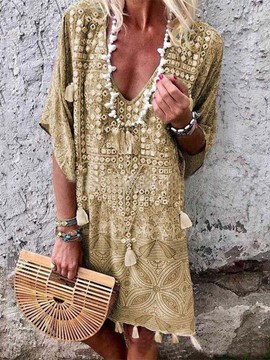 Ericdress Bohemian V-Neck Half Sleeve Tassel Midi Dress Beach Dresses For Women