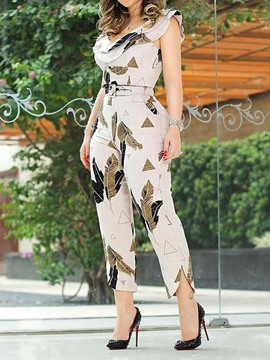 Ericdress Ankle Length Geometric Print High Waist Women'S Jumpsuit