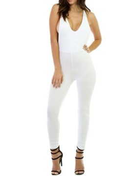 Ericdress Sexy Backless Ankle Length Plain Slim Jumpsuit