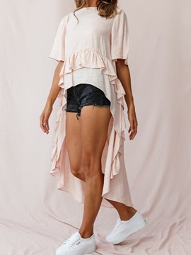 Ericdress Asymmetric Pleated Long Fashion Blouse