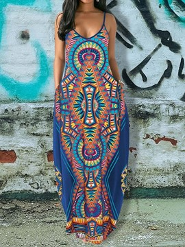 Ericdress African Fashion Pocket Floor-Length Sleeveless Spaghetti Strap Dress