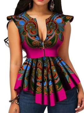 Ericdress African Fashion Asymmetric Print Zipper Blouse