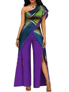 Ericdress African Fashion Patchwork Separable Stripe Color Block Split High Waist Slim Jumpsuit