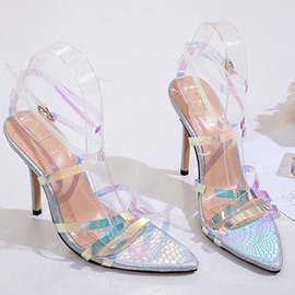 Ericdress PVC Open Toe Stiletto Heel Women's Sandals