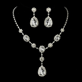 Floral Gemmed Earrings Jewelry Sets (Wedding)