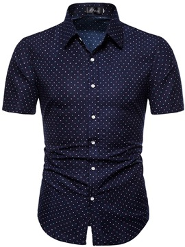 Ericdress Polka Dots Print Lapel Single-Breasted Mens Slim Shirt