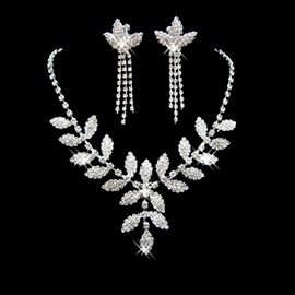 Korean Floral Leaf Necklace Jewelry Sets (Wedding)