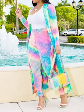 Ericdress Color Block Tie-Dye Trench Women's Suit Coat And Pants Two Piece Sets