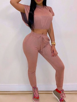 Ericdress Plain Lace-UpStretchy Casual Women's Suit T-Shirt And Pants Two Piece Sets