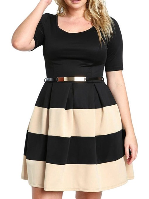 Ericdress Plus Size A-Line Color Block Round Neck Short Sleeve Dress(Without Waistband)