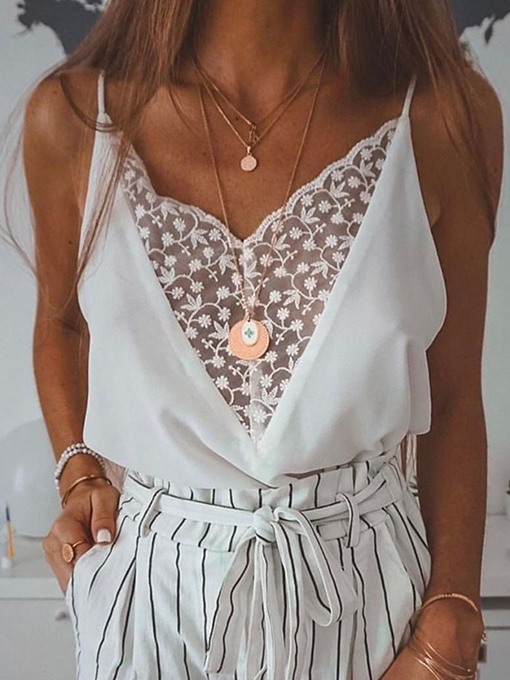 Ericdress Patchwork Lace See-Through Summer Tank Top