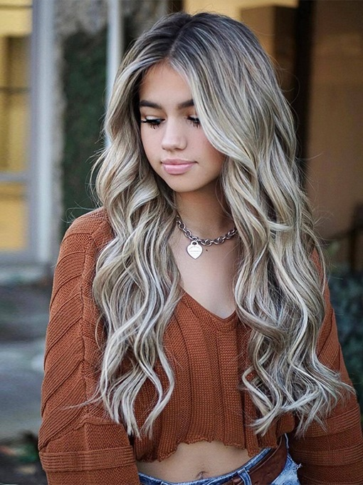 Ericdress Ombre Color Women's Body Wave Synthetic Hair Wigs Long Length130% Density Capless Wigs 24Inches