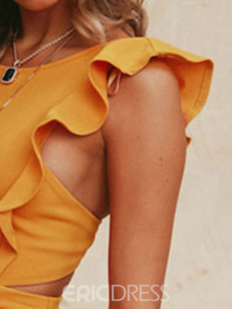 Ericdress Cap Sleeves Above Knee Stringy Backless Plain Dress