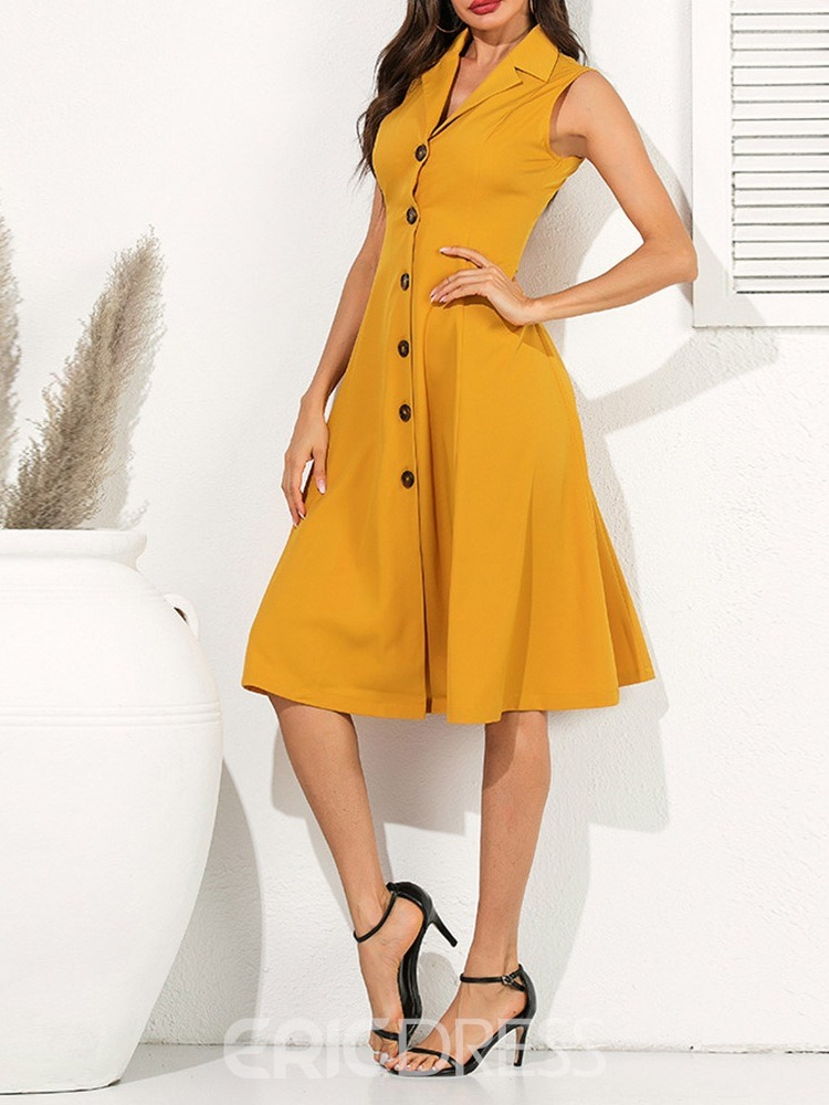 Ericdress A-Line Notched Lapel Single-Breasted OL Sleeveless Dress